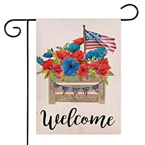 Hlonon 4th of July Garden Flag Patriotic American Decorative Welcome Garden Flag 12x18 Double Sided 4th of July Independence Day Memorial Day Decorations Outdoor Yard Decor