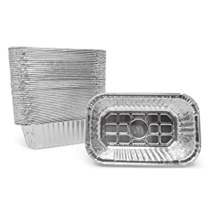 "Fig & Leaf (35 Pack) Premium 1-LB Small Loaf Baking Pans l Size 6.1"" x 3.7"" x 2.0"" Mini Bread Pan l 28 Gauge l Top Baker's Choice Disposable Aluminum Foil for Cakes Meatloaf Lasagna Oven Safe Sturdy"