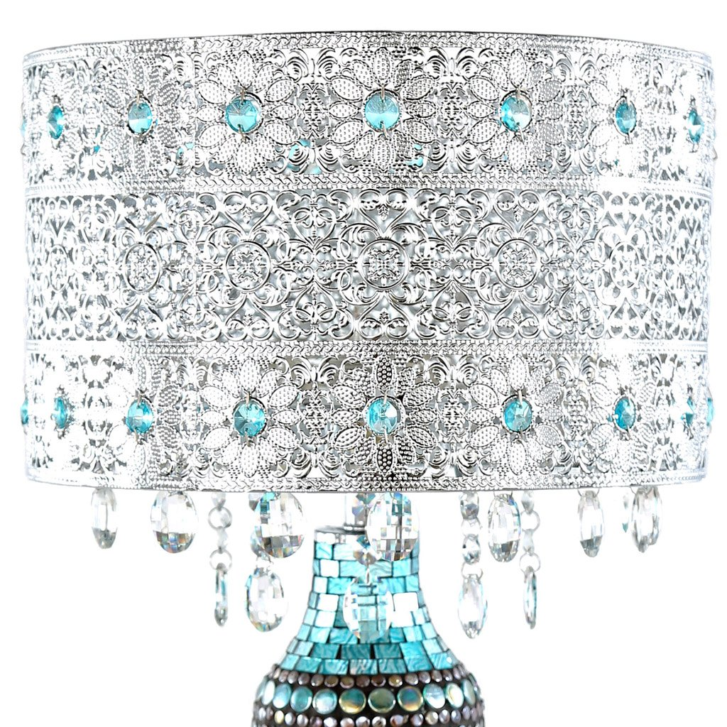 "24.25"" H Glorias Crystal Beaded Table Lamp with Mosaic Base - Turquoise"