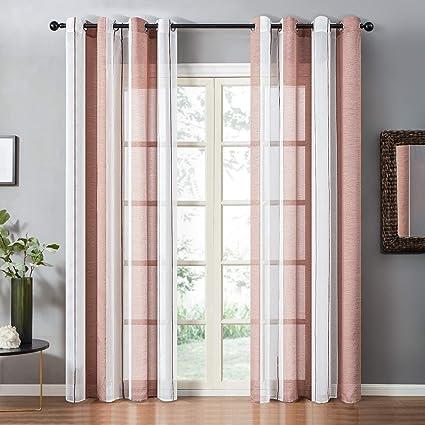 topfinel lot de 2 rideaux 140x240 cm grandes salon moderne a oeillets rideaux voilage brun rayures fenetre decor chambre fille cuisine baie vitree