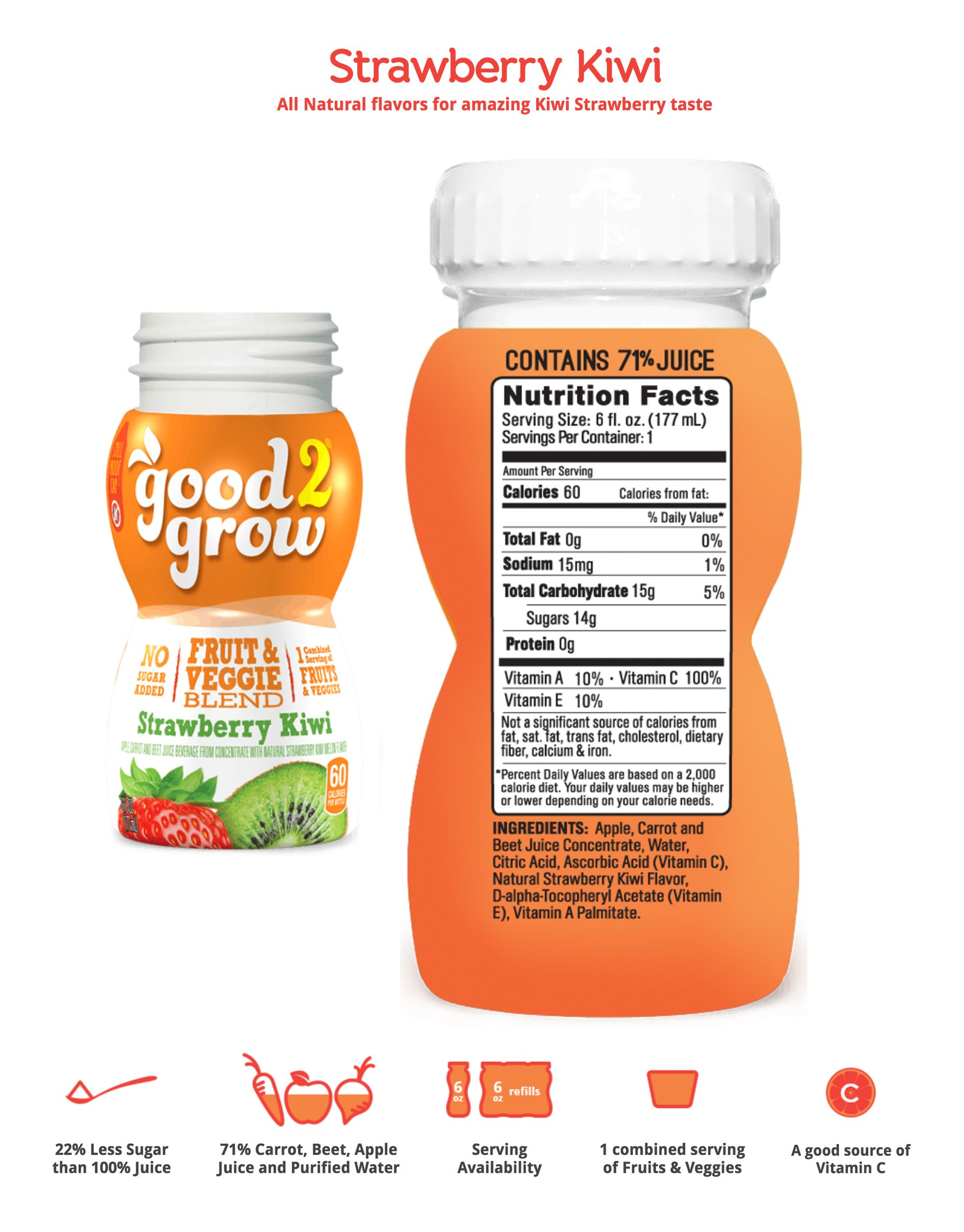 good2grow Fruit & Veggie Blend – Strawberry Kiwi 6oz Refill Drink Bottles Pack, 24 Count - No Sugar Added, An Excellent Source of Vitamin C - Use with Collectible Spill-Proof Topper Characters by good2grow (Image #2)