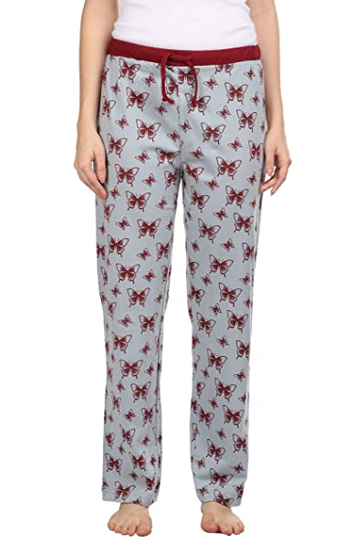 36ad1185032d Semantic Women Cotton Pyjama Ladies Butterflies Printed Grey Color Pyjama s  Regular Fit Sleepwear Size S Drawstring with Elastic Waistband  Amazon.in   ...