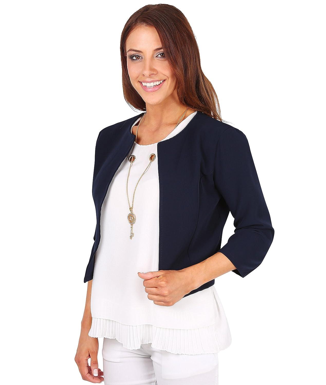 KRISP Women's Elegant Tailored 3/4 Cropped Open Shrug Blazer Bolero Party Jacket 5026