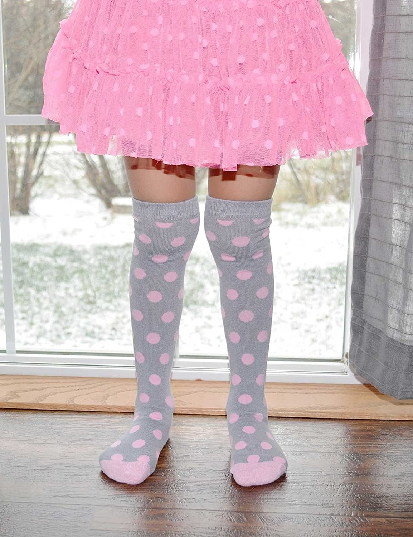 Lacrosse Socks Gray//Pink Knee High Polka Dot Socks Fun Tall Cute Girls Soccer