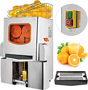 VBENLEM 110V Commercial Orange Juicer Machine, With Pull-Out Filter Box, Electric Citrus Juice Squeezer, 22-30 Oranges Per Minute, Lemon Making Machine, 304 Stainless Steel Tank and Cover