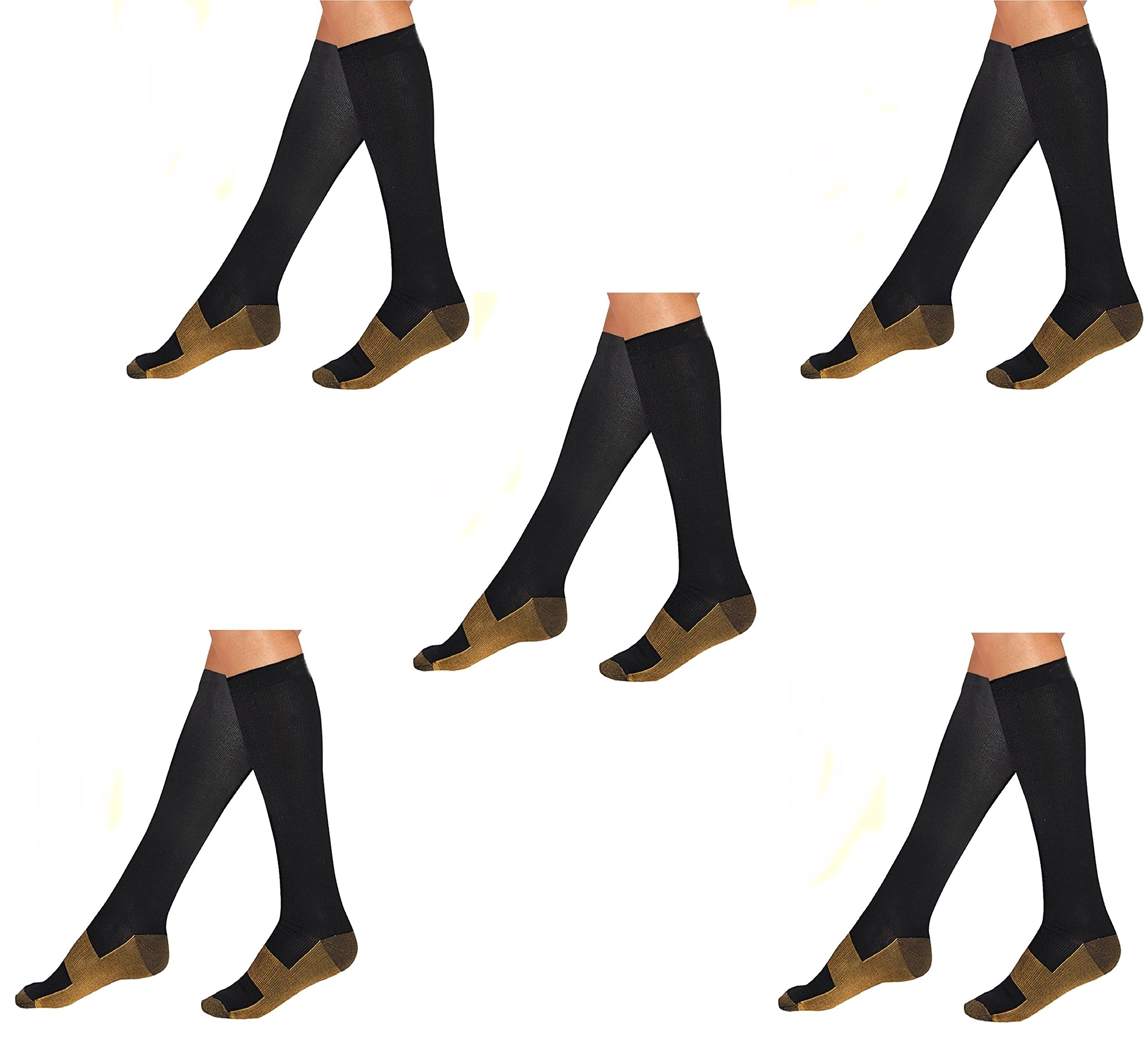 5 Pair Lg/XL Black/Gold - Bcurb Graduated Compression Socks Below Knee Calves High Support Recovery Stockings Aid Blood Circulation Relieves Feet Foot Calf Ankle Pain and Aches - Men & Women by Bcurb