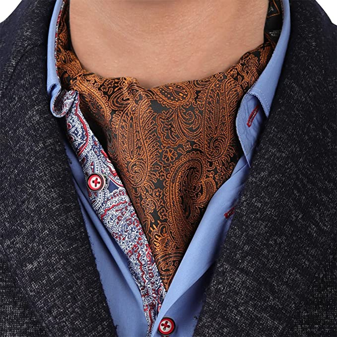 4c43f31481a9 Amazon.com: Epoint ERA1B02A Brown Black Paisley Rack Mens Ascot Woven  Microfiber Cravat Boyfriend Presents: Clothing