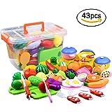 おままごと ごっこ遊び 台所おもちゃ 切れる 果物 野菜 ケーキ 知育玩具 収納箱付きセット (グリーン, 43PCS)