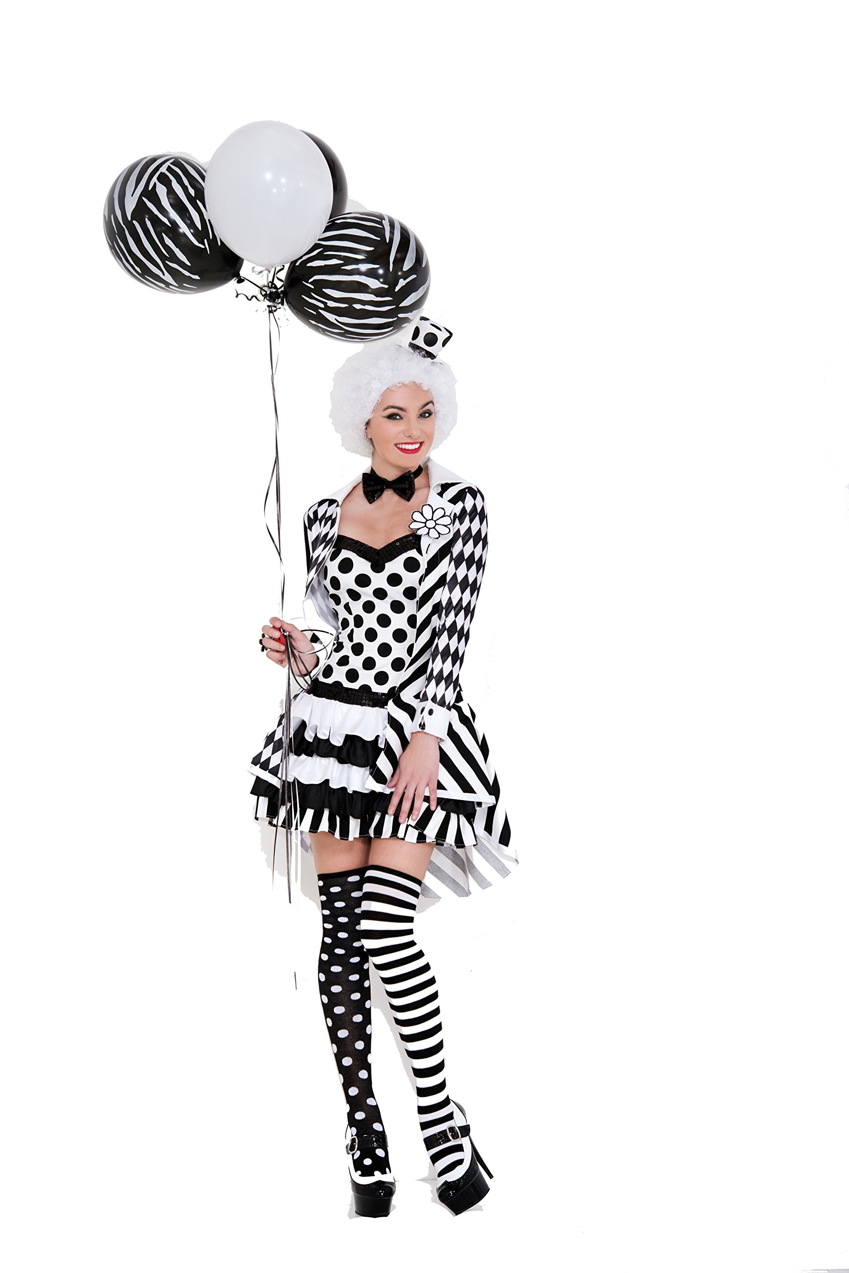 Music Legs Women's Circus Damned, White/Black, X-Large