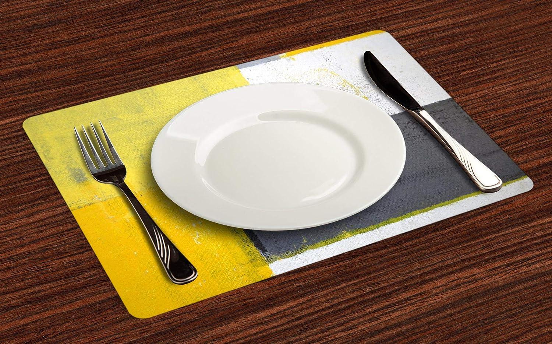 ABAKUHAUS Grigio e Giallo Tovaglietta Americana Set di 4 Tovagliette in Tessuto Lavabile per Tavolo da Pranzo Grigio Giallo Pallido Quadrati Gialli