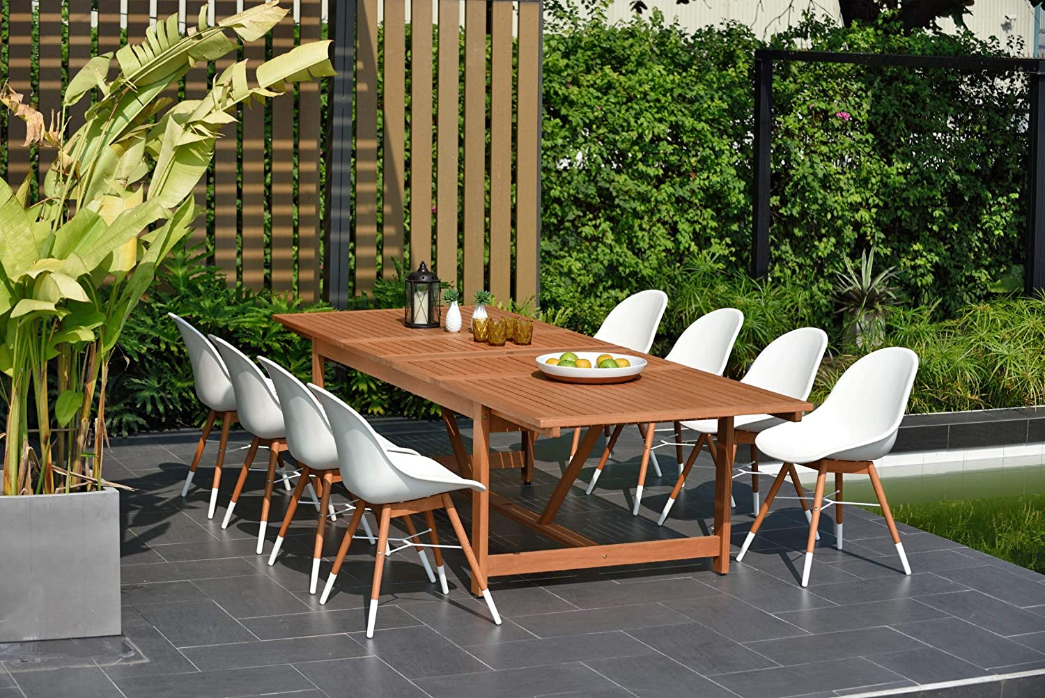 Brampton 9 Piece Outdoor Eucalyptus Extendable Dining Set | Perfect for Patio | with White Chairs, Dark
