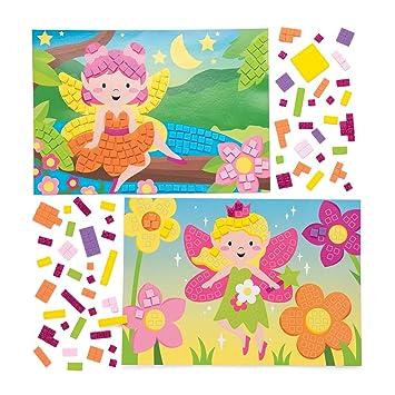 Baker Ross Kits De Dibujos De Hadas Para Decorar Con Mosaicos Paquete De 4 Manualidades Para Niños