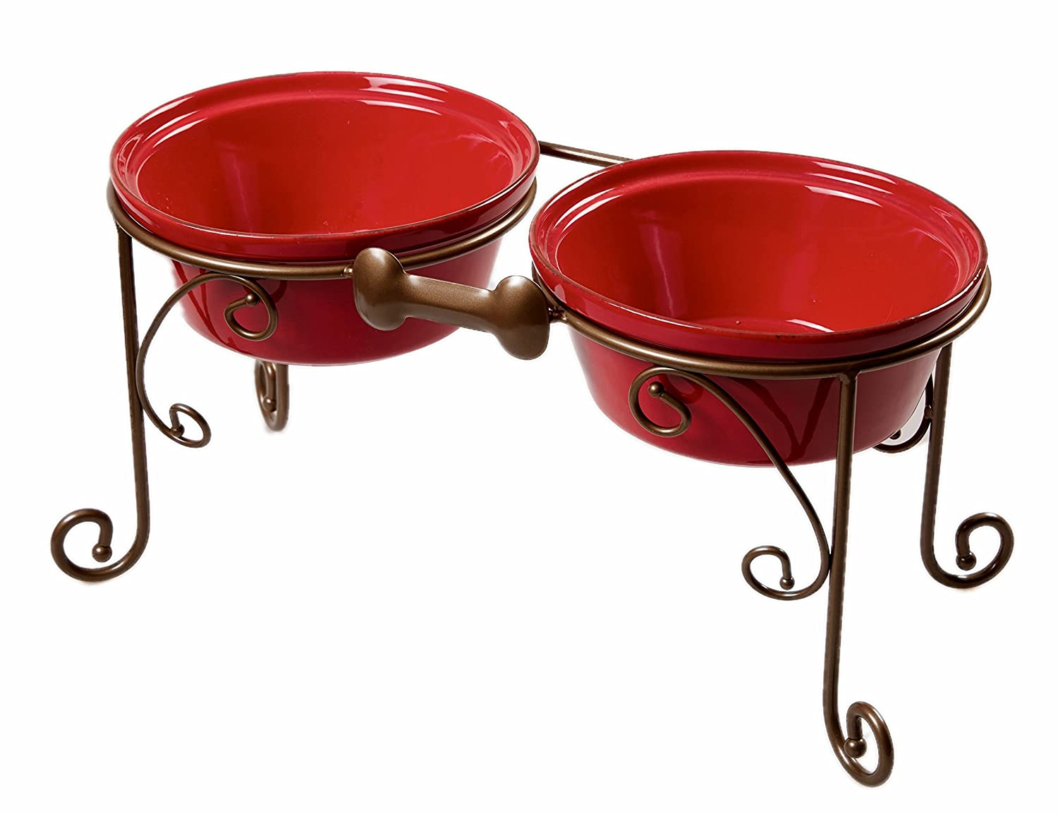 Elevated Pet Feeder With Ceramic Bowls