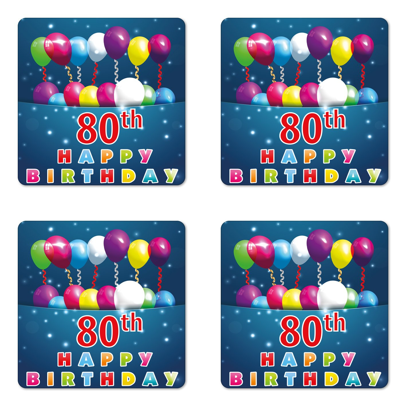 Amazon Ambesonne 80th Birthday Coaster Set Of Four Happy