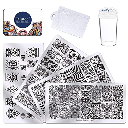 Biutee Nail Art Stempel Stempel Vorlagen Stamper Schaber Kit- 4 Maniküre Platten Set mit 1 Polnisch Stempel von Salon Designs