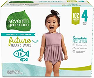product image for Seventh Generation Baby Diapers for Sensitive Skin, Ocean Prints, Size 4, 102 Count