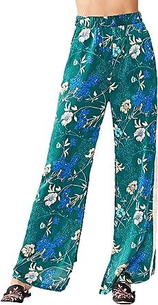 Mujer Pantalon Verano Pantalon Anchos Elegantes Vintage Fashion Pantalones De Tiempo Libre Especial Estilo Floreadas Comodo Abiertas Pants Pantalones Anchos Amazon Es Ropa Y Accesorios