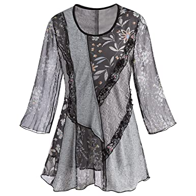 480dfbad200 Adore Women's Patchwork Tunic Top -Mixed Lace & Floral Patterns 3/4 Bell  Sleeves