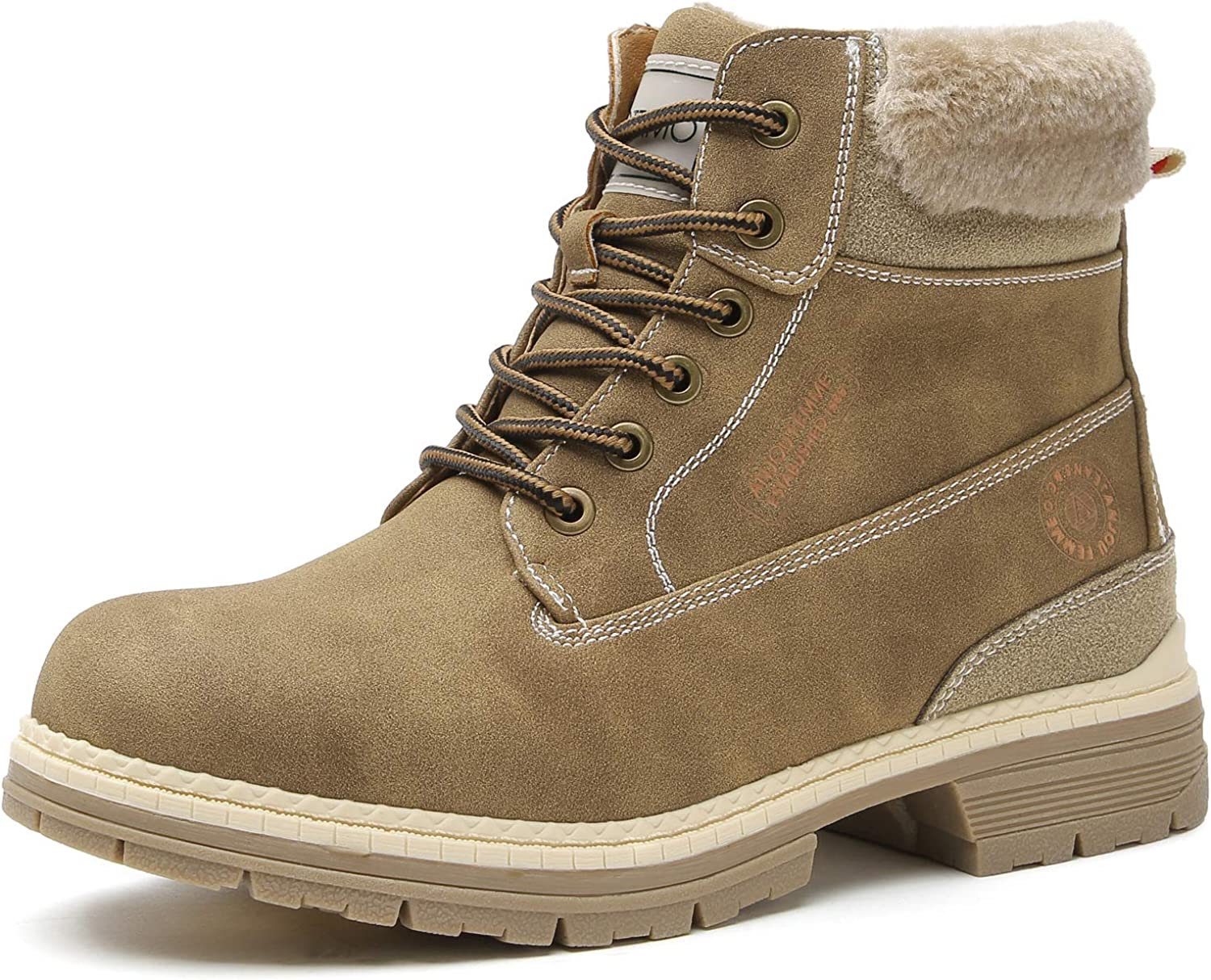 COTTIMO Winter Fur-Lined Hiking Boot for Women Non-Slip Snow Boots