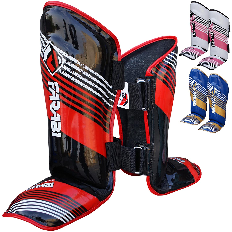 Farabi espinilleras para artes marciales para niños Junior almohadillas protección Kick Boxing MMA Muay Thai Kick Shin & pie Protectector (azul/oro) Farabi Sports