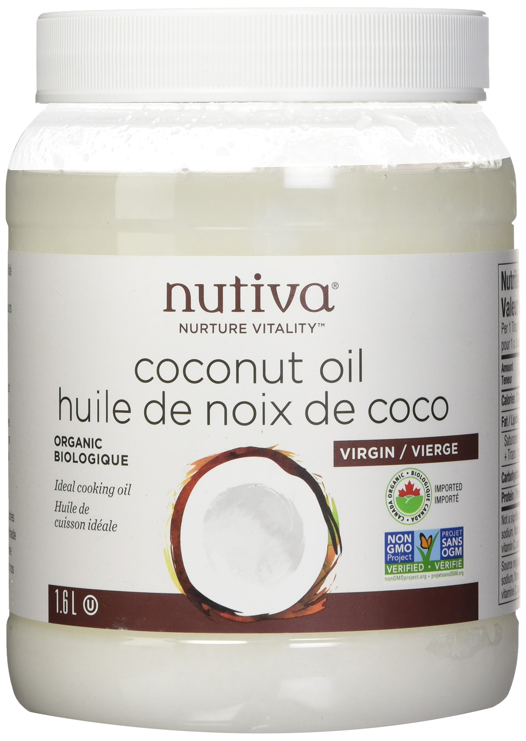 Nutiva Organic, Cold-Pressed, Unrefined, Virgin Coconut Oil from Fresh, non-GMO, Sustainably Farmed Coconuts, 54 Fluid Ounces