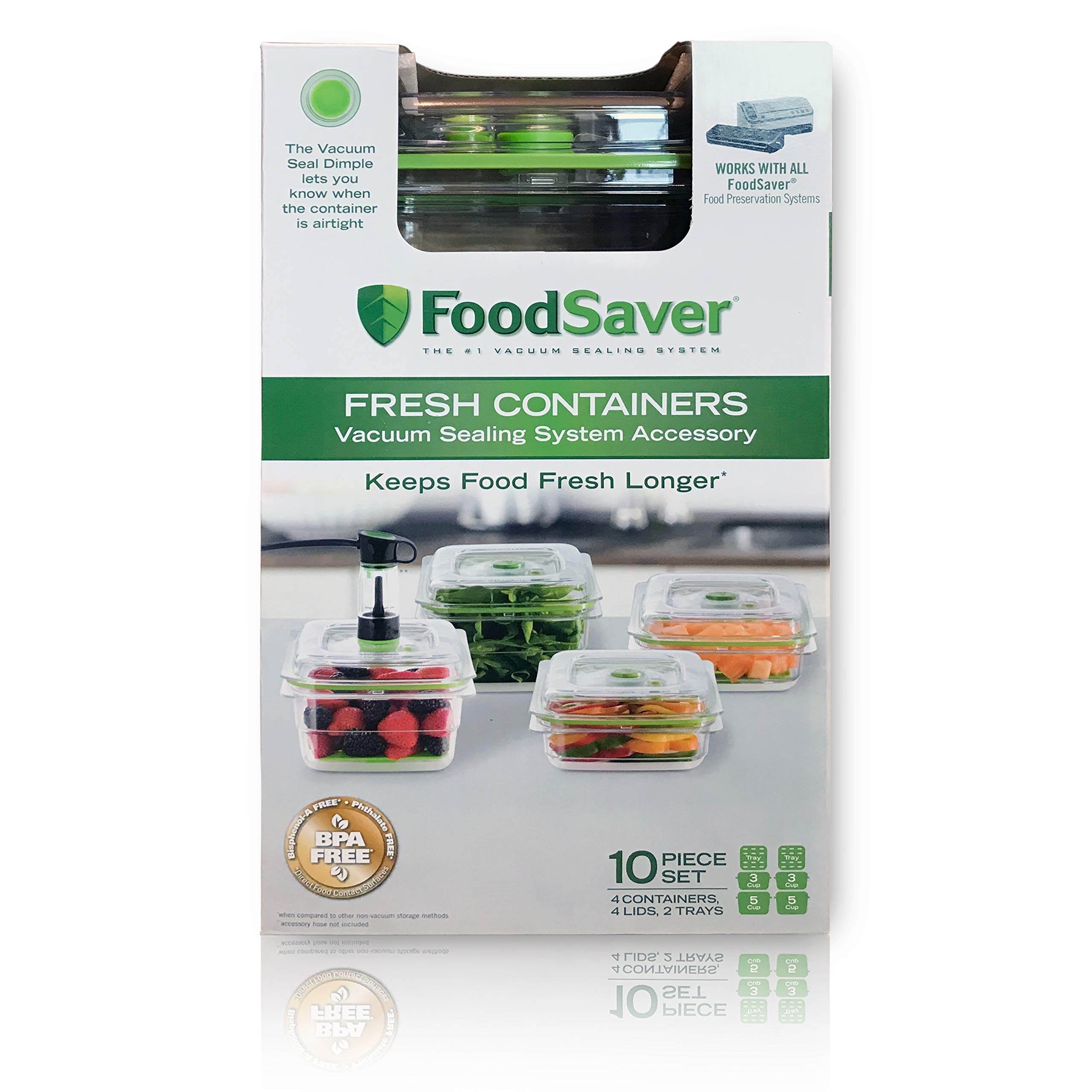 FoodSaver Fresh Containers | Vacuum Seal Food Storage Container Set | Clear | FA4SC3355T2 by FoodSaver