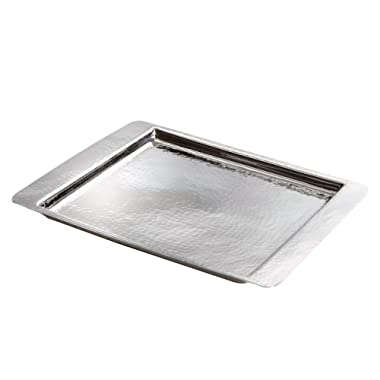 Elegance Hammered Stainless Steel Square Tray, Medium