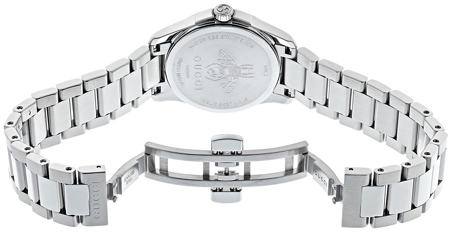 00416d0323b Gucci Womens Analogue Classic Quartz Watch with Stainless Steel Strap  YA126573  Amazon.co.uk  Watches
