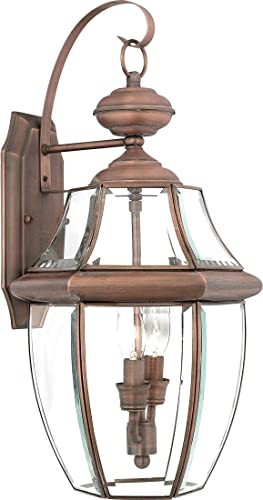 Torbrook Outdoor Wall Lantern Lighting for Garage Exterior, Brown, Clear Glass, Large 2-Light 120 Watts, Copper Patina