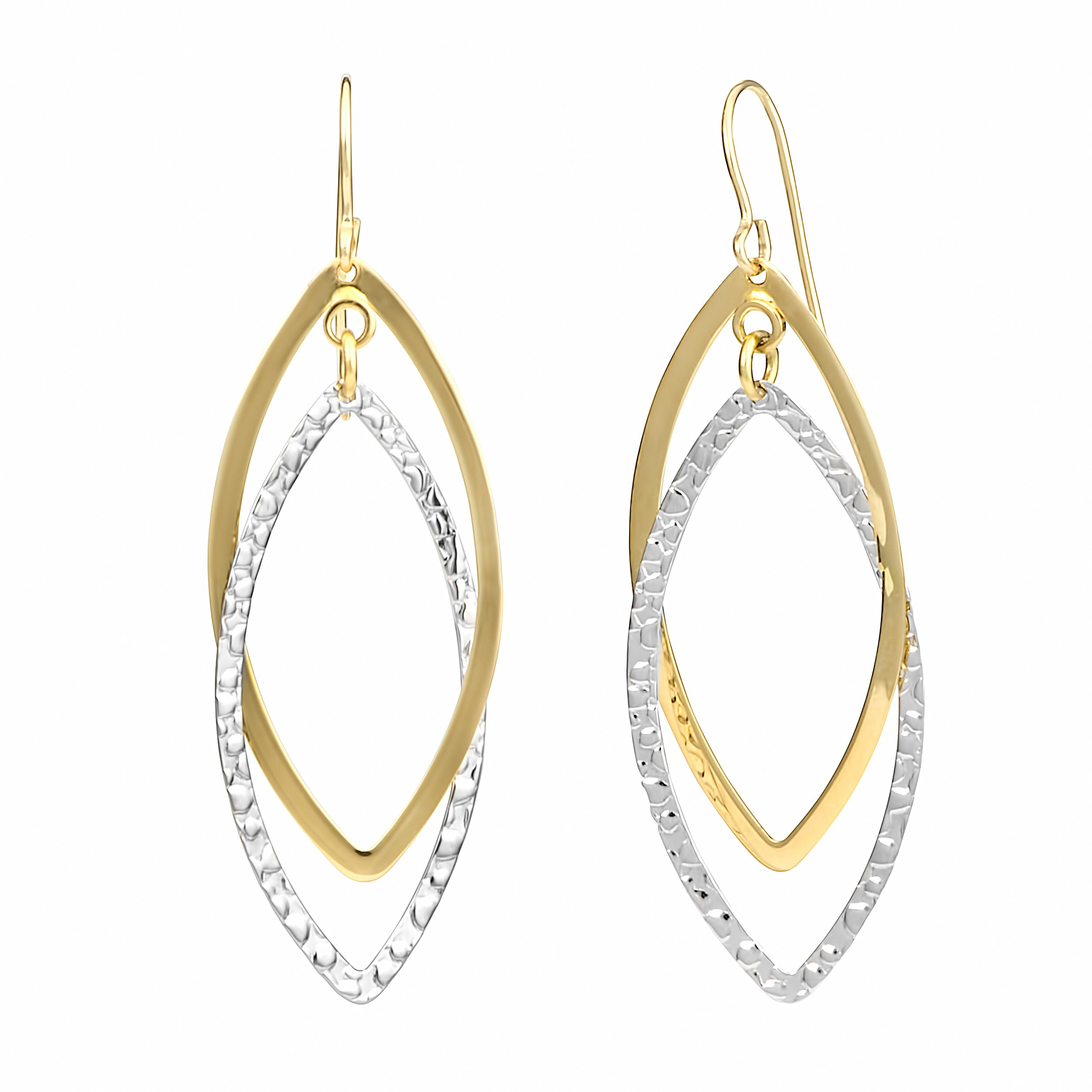 14k Two-tone Gold Double Marquise Dangle Earrings