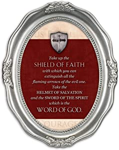 Cottage Garden Shield of Faith The Word of God Brushed Silver Wavy 5 x 7 Oval Table and Wall Photo Frame
