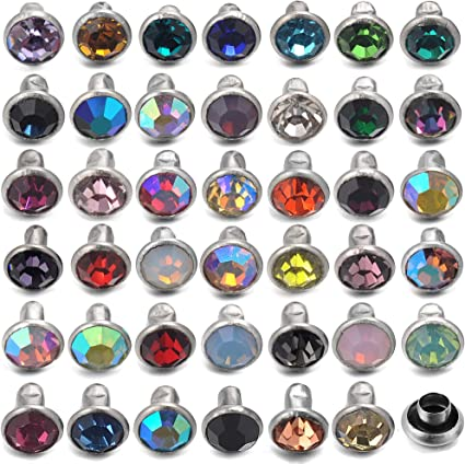 Contains 515 Sets Clear Crystals #7 Crystal Rivets with Decorative Base