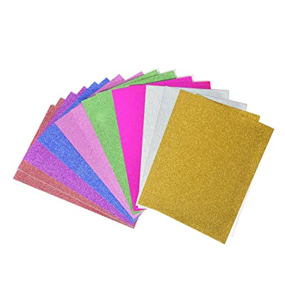 16 Hojas Cartulina A4 Colores papel con purpurina brillante 250gms Colores para Manualidades DIY Artcraft Trabajo Scrapbooking Álbumes de Recortes (16 Hojas): Oficina y papelería