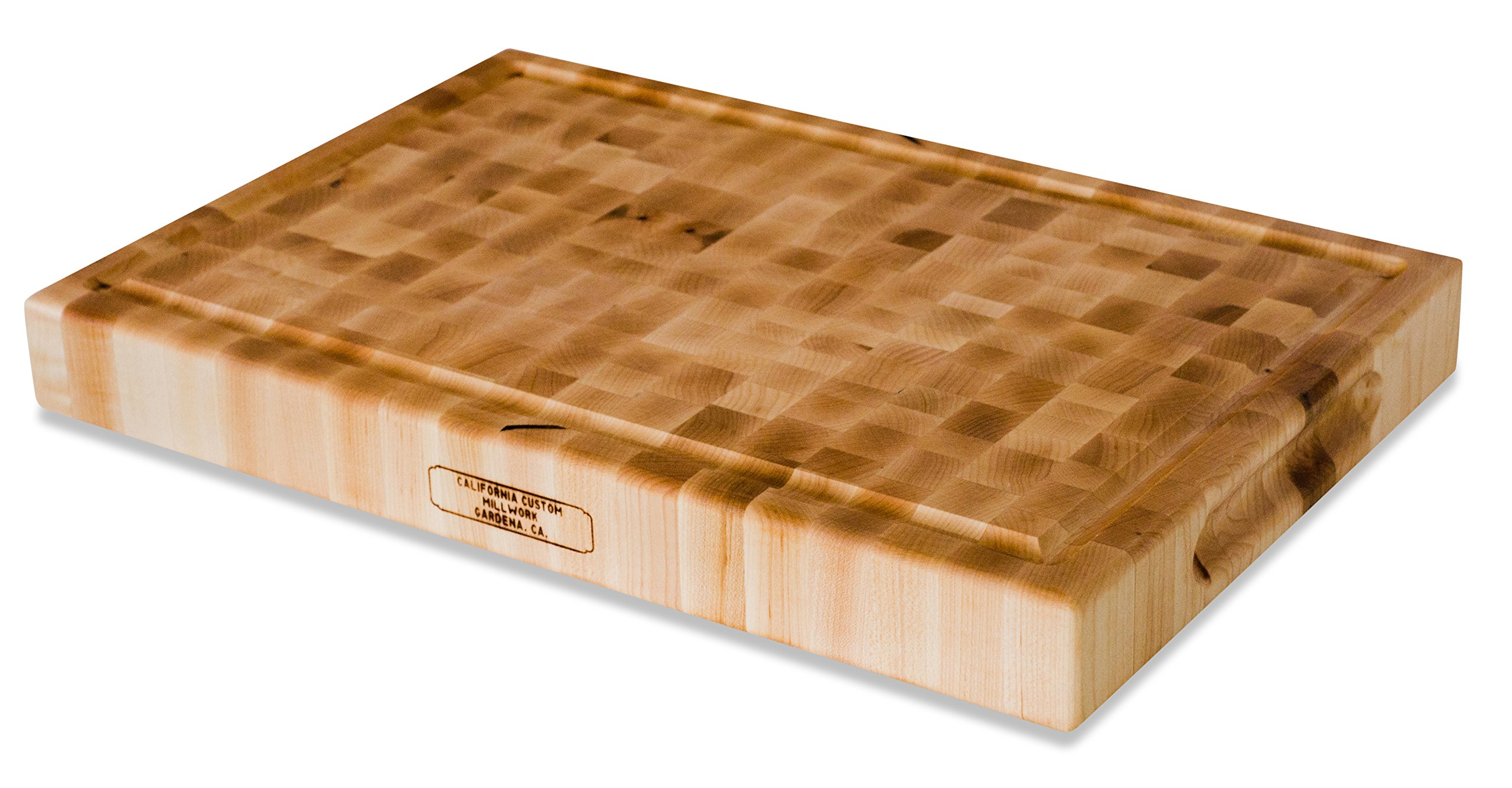 Large Wood End Grain Cutting Board With Juice Groove - 18x12x2 Reversible Maple Butcher Block Made in the USA by California Custom Millwork
