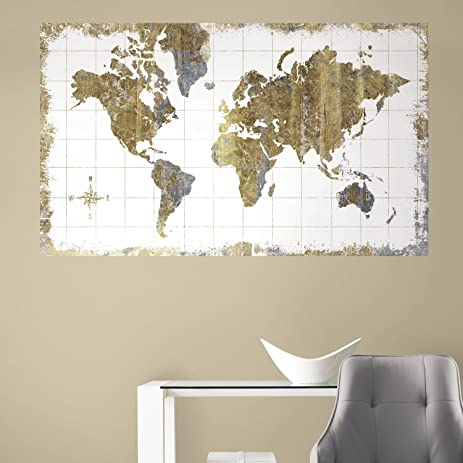 Roommates rmk3436psm gold world map peel and stick wall mural roommates rmk3436psm gold world map peel and stick wall mural gumiabroncs Image collections