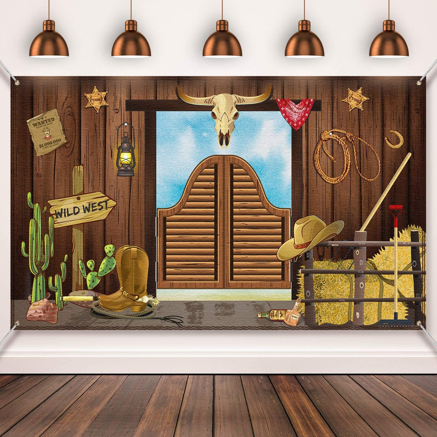 Western Party Supplies, Large Fabric Saloon Yeehaw Western Scene Setters for Western Themed , Wooden House Barn Banner Cowboy Decoration Photo Booth Backdrop Background (Wild West)