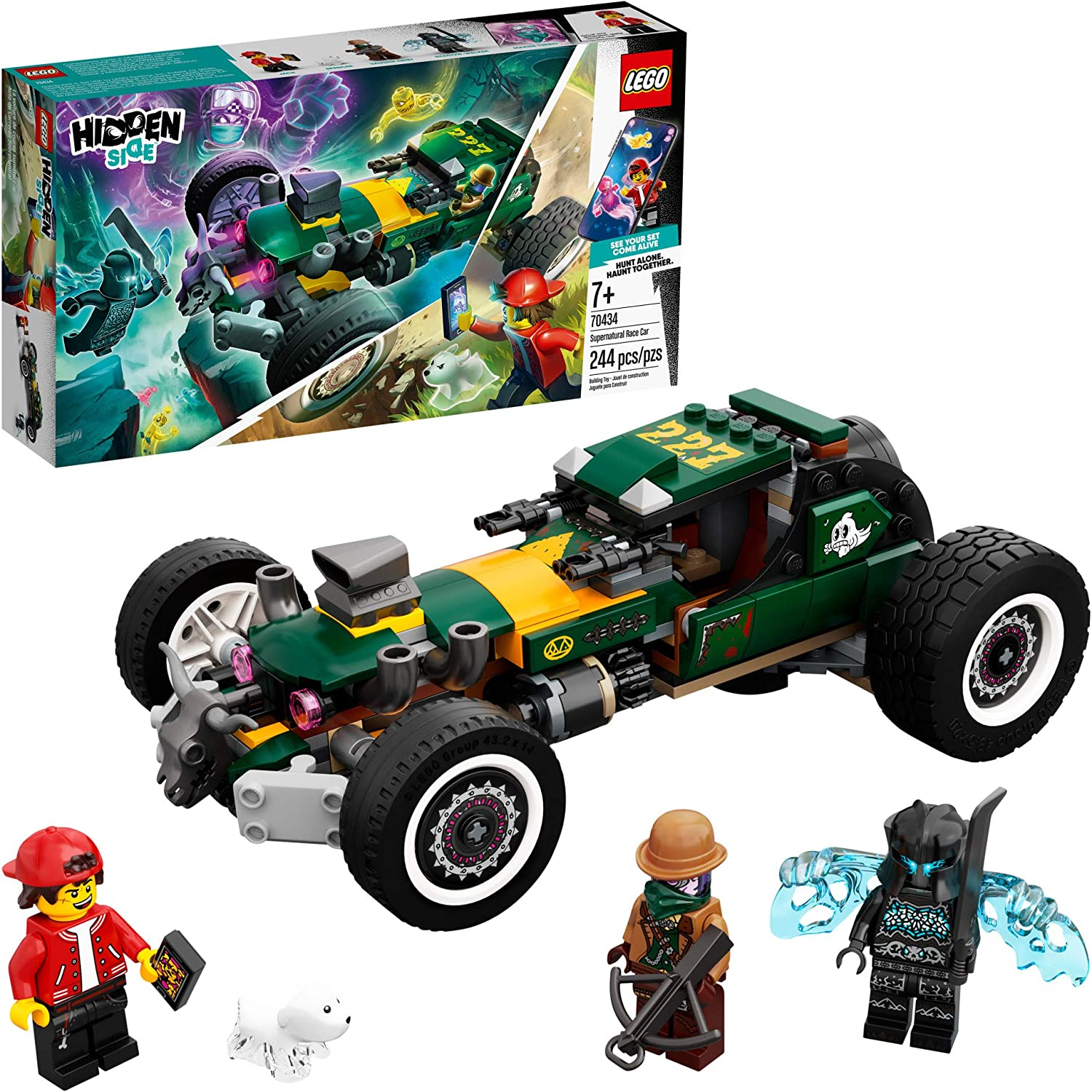 Includes Jack AR 244 Pieces App-Driven Ghost-Hunting Kit Vaughn and Shadow-Walker Minifigures LEGO Hidden Side Supernatural Race Car 70434 New 2020 Ghost Toy Popular Augmented Reality