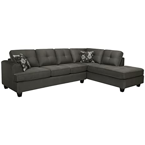 Sofaweb.com Chase Charcoal Grey Sectional Sofa