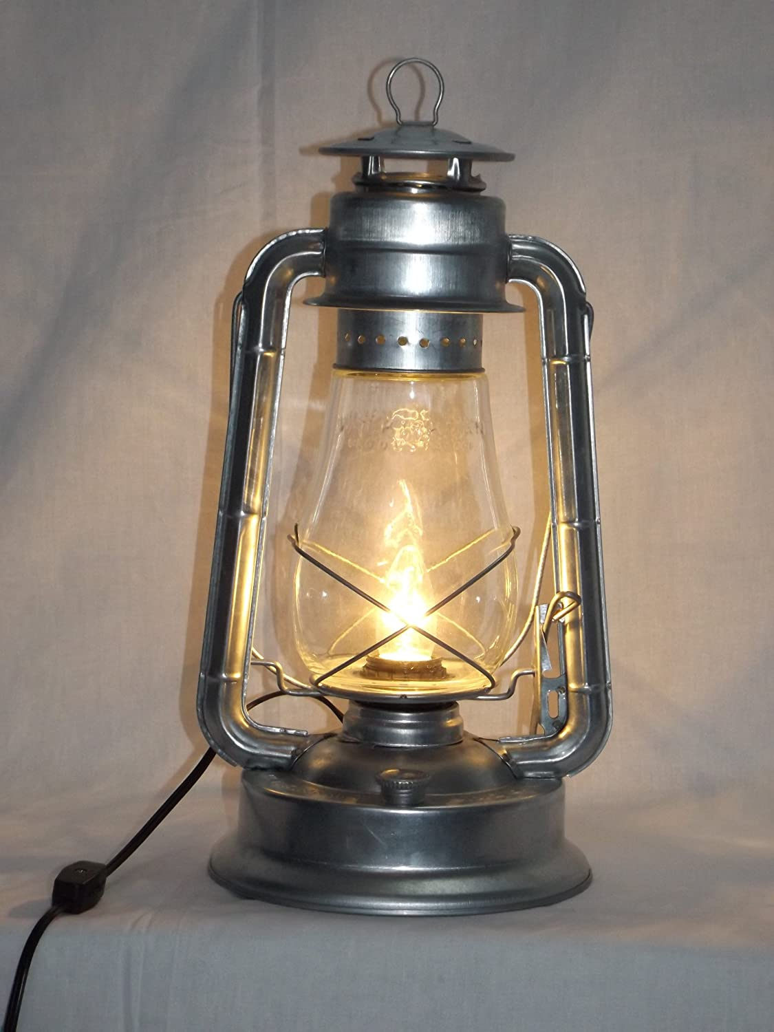 Bright Galvanized 'Champion' Electric Lantern Table Lamp ...