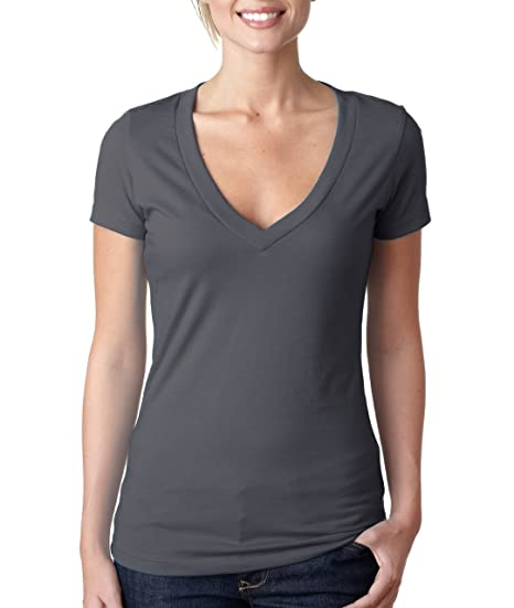 296e2021b7337 Next Level Apparel Women s CVC Deep V-Neck T-Shirt at Amazon Women s ...