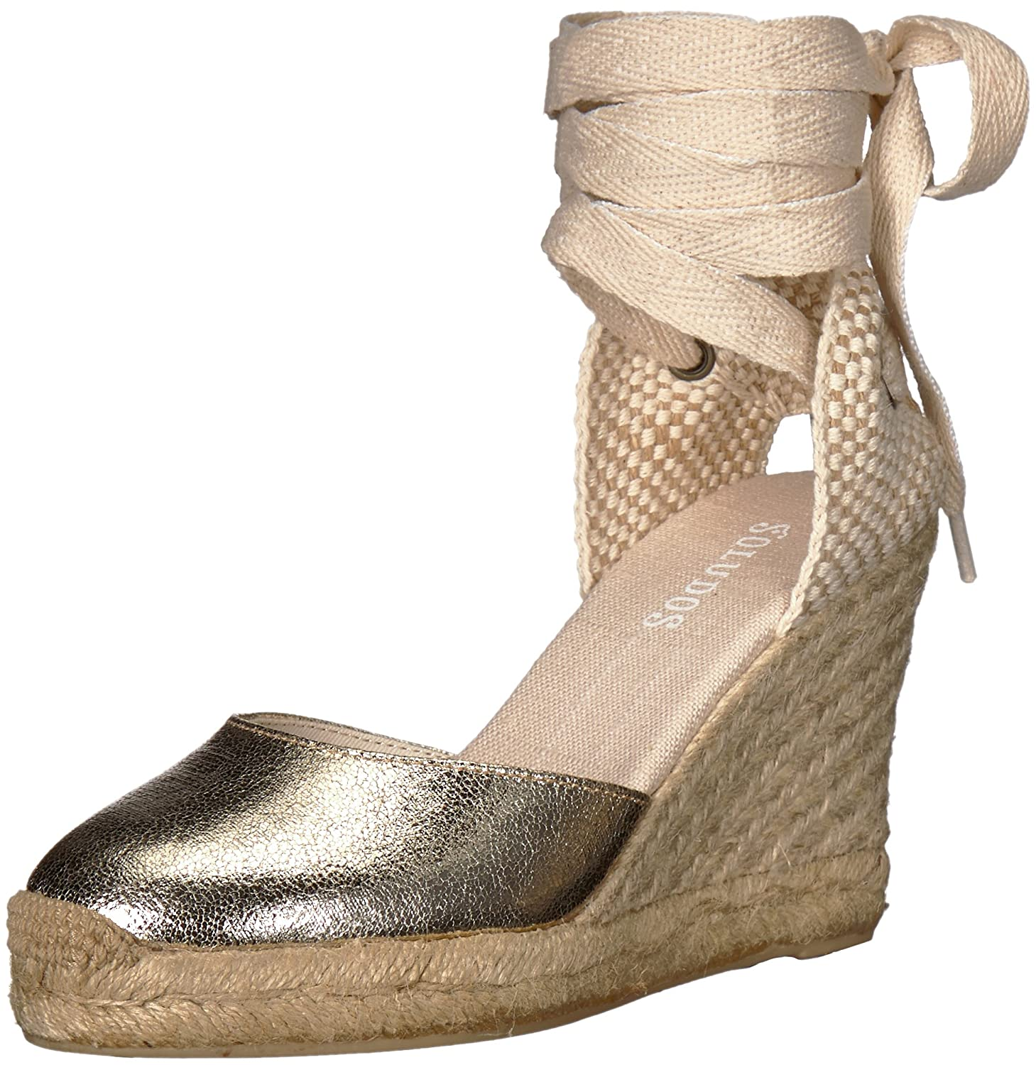 Soludos Women's Metallic Tall Wedge Pump B072N7XT8Z 8 B(M) US|Pale Gold