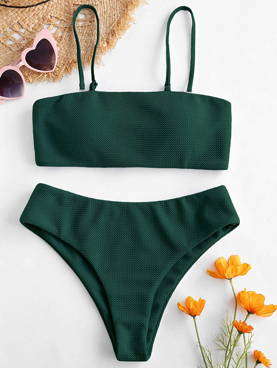 ZAFUL Bikini Textured Removable Straps Padded Bandeau Two Piece Bathing Suits for Women