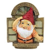 Garden Gnome Statue - Knothole Welcome Gnomes - Gnome Tree Window - Fairy Garden - Gnome Village