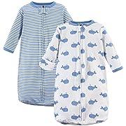 Hudson Baby Safe Sleep Wearable Long Sleeve Sleeping Bag, 2 Pack, Whales