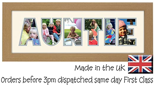 wooden finish photos in a word frame auntie - Word Frame