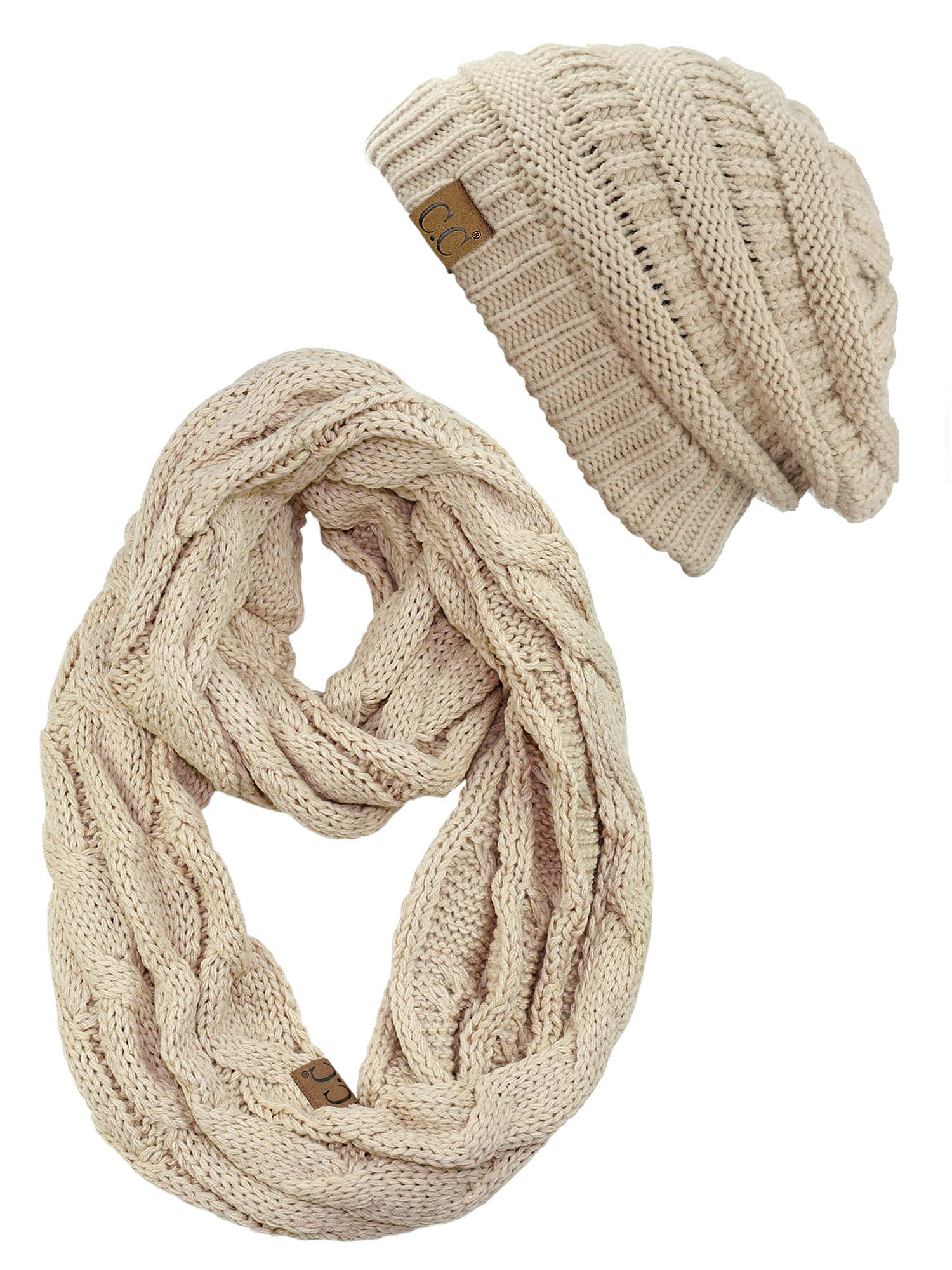C.C Unisex Soft Stretch Chunky Cable Knit Beanie and Infinity Loop Scarf Set, Dark Beige