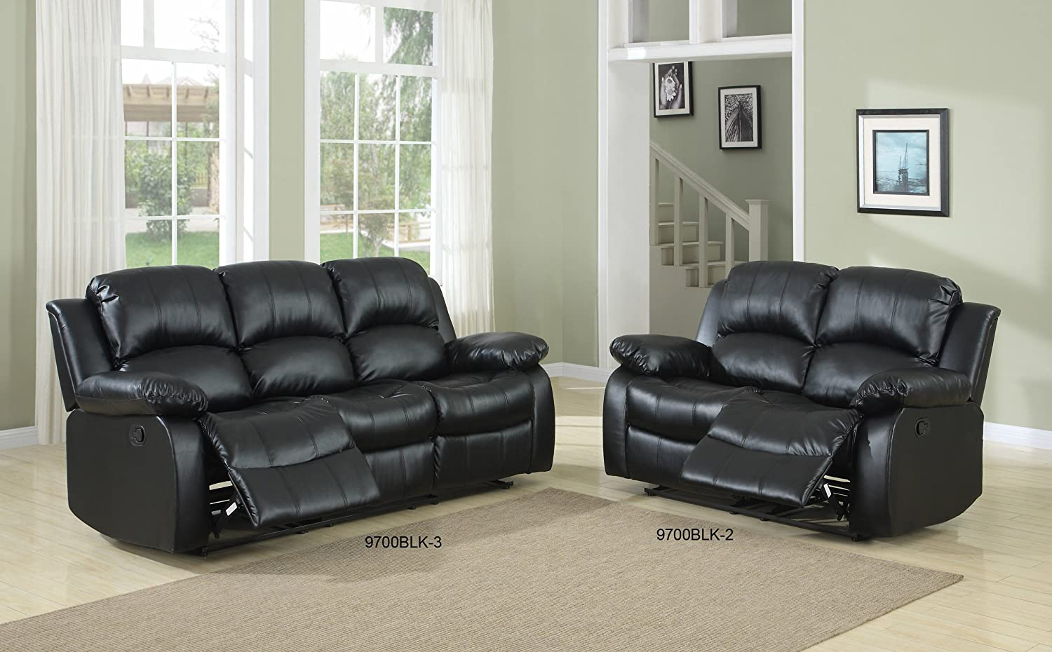 Amazoncom Homelegance Double Reclining Sofa Black Bonded - Leaky faucet bathroolearn leather dining room chairs on sale