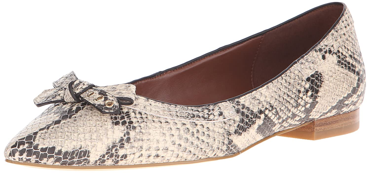 Cole Haan Women's Alice Bow Skimmer Pointed Toe Flat B015PVQYLW 9 B(M) US|Roccia Snake Print