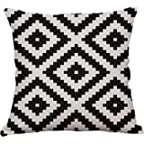Geometric Decorative Throw Pillow Covers Square Cotton Linen Cushion Covers Outdoor Sofa Home Pillow Covers 20x20 Inch