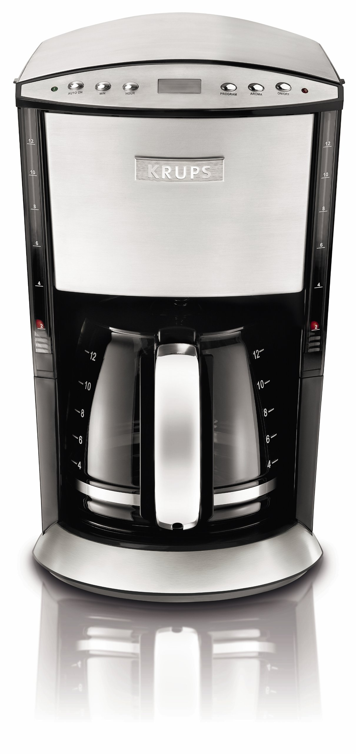 KRUPS KM720D50 Programmable Coffee Maker with Stainless Steel Housing, 12-Cup, Silver